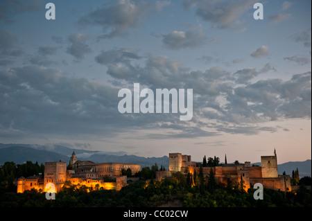 Die Alhambra von Nacht, Granada, Andalusien, Spanien - Stockfoto