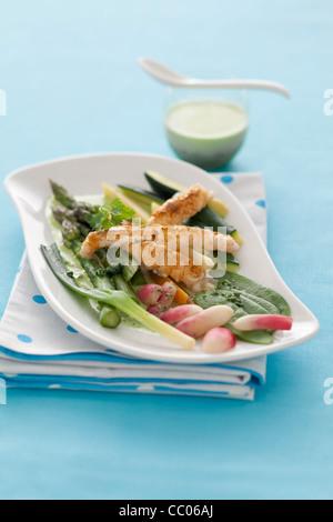 Mischmasch von Gemüse mit Scampi - Stockfoto