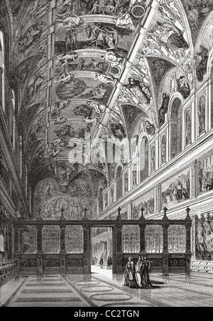 Die Sixtinische Kapelle, Apostolischen Palast, Vatikan, Vatikanstadt, Rom, Italien im späten 19. Jahrhundert - Stockfoto