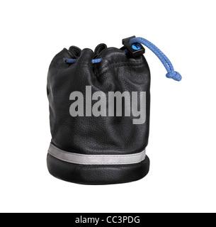 Studio-Fotografie eine aufrechte schwarze Leder Tasche isoliert auf weiss, mit Beschneidungspfad - Stockfoto