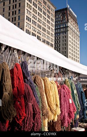 Wollgarn, Union Square Farmers' Market, NYC - Stockfoto