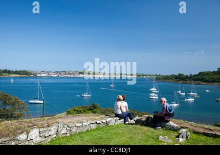 Besucher genießen die Aussicht über Strangford Lough, Portaferry von Audley Schloss, Schloss Station Immobilien, - Stockfoto