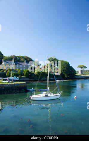 Segelboote vor Anker im Hafen von Strangford, Strangford Lough, County Down, Nordirland. - Stockfoto