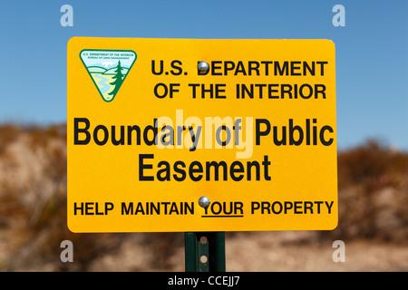 USA-Abteilung der inneren Begrenzung des öffentlichen Dienstbarkeit unterzeichnen in Las Cruces, New Mexico. - Stockfoto
