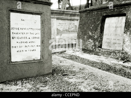 Grab von Kapitän Francis Light auf dem protestantischen Friedhof in Georgetown auf der Insel Penang in Malaysia - Stockfoto