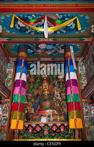 Indien, Arunachal Pradesh, Tawang, Khinmey Nyingma Kloster, Padmasambhava, Guru Rinpoche - Stockfoto