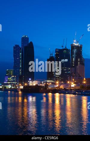 Russland, Oblast Moskau, Moskau, Presnya-Bereich, Moskau internationales Geschäftszentrum, Abend - Stockfoto