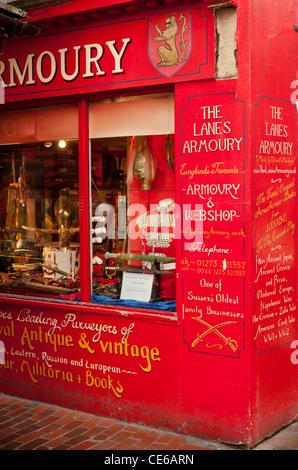 Die Gassen Zeughaus shop Front. Brighton Lanes East Sussex uk - Stockfoto