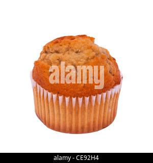 Ein Toffee Muffin Muffin auf weißem Hintergrund - Stockfoto