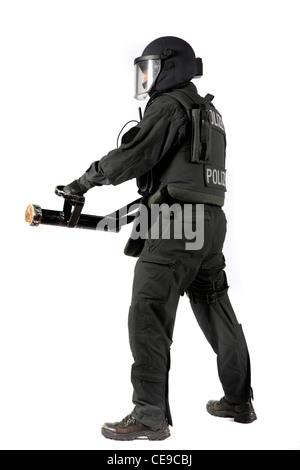 Polizei, SWAT-Team. Polizeiliche Spezialeinheit, Bekämpfung schwerer Kriminalität, Terrorismus, organisierte Kriminalität - Stockfoto