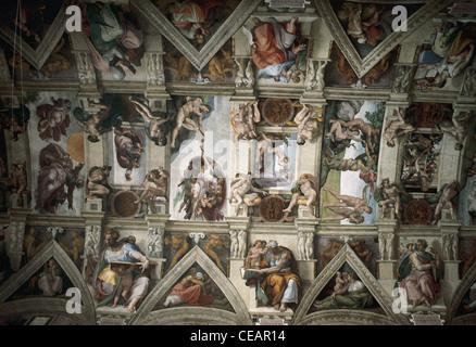 Renaissance Kunst. Italien. Michelangelo (1475-1564). Sixtinische Kapelle (1508-1512). Decke. Den Petersdom. Vatikan - Stockfoto