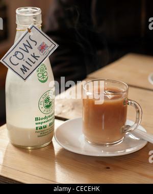 Flasche von Kuhmilch mit Tasse Tee - Stockfoto