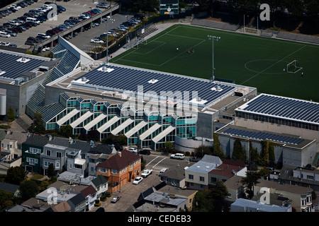 Luftaufnahme Sonnenkollektoren Universität von San Francisco, Kalifornien - Stockfoto