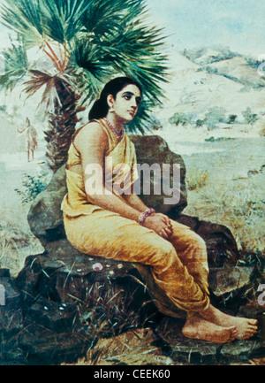 Sakuntala sitzt unter dem Palmyrah Baum, in Gedanken verloren. Ölgemälde auf Leinwand von Raja Ravi Varma datiert - Stockfoto