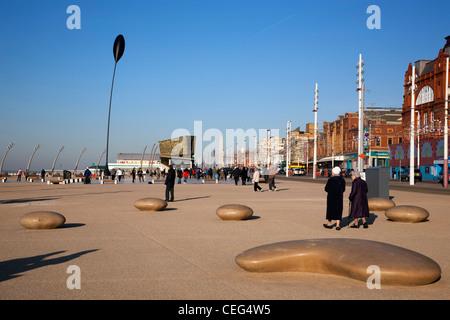 Neu entwickelte Strand von Blackpool Central Promenade - Stockfoto