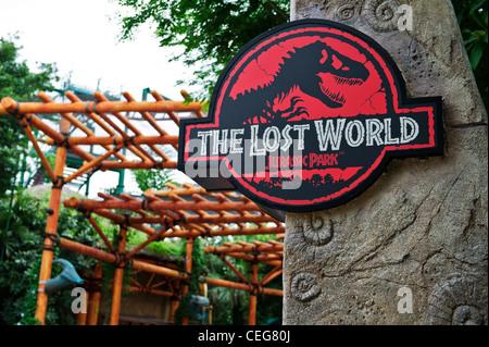 Die verlorene Welt Zeichen, Jurassic Park, Universal Studios Singapur. - Stockfoto