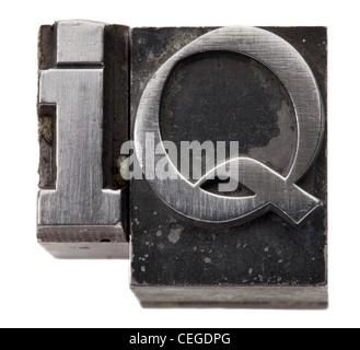 Intelligenz-Quotienten - IQ Akronym - isolierten Symbol im Bleisatz Vintage grunge - Stockfoto