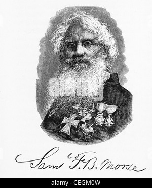 Samuel Morse erfand der elektrische Fernschreiber, entwickelt den Morse-Code und experimentierte mit Unterseekabel - Stockfoto