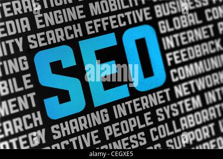 Digitale Poster mit SEO Text und Wörter auf soziale Motor Optimierung Thema. Selektiven Fokus auf Überschrift. - Stockfoto