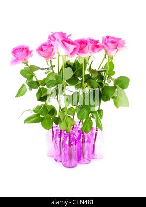 Strauß Rosen in rosa Vasen auf weißem Hintergrund Stockfoto