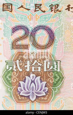 Detail-Foto einer chinesischen 20 Yuan Rechnung. Die chinesische Währung Renminbi, wurde 1949 eingeführt, nach der - Stockfoto