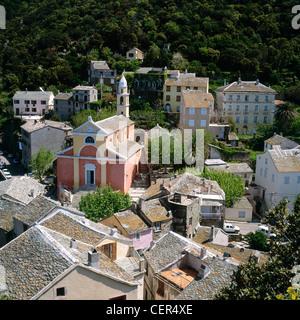 Auf der Dachterrasse-Blick über Nonza, Cap Corse, Haute Corse, Korsika, Frankreich. - Stockfoto