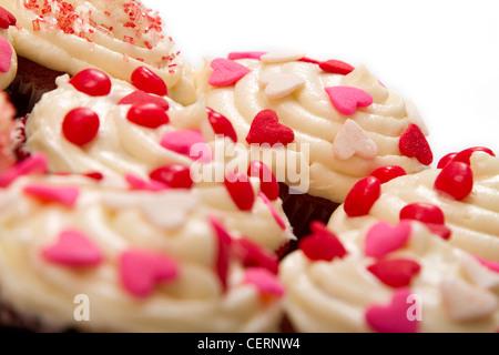 Valentinstag Cupcakes Nahaufnahme. - Stockfoto