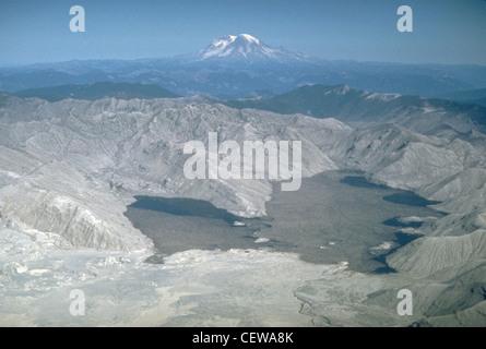 Spirit Lake, umgeben von üppigen Wald umgeben, befindet sich in der Gegend von Blast verwüstet. Reste der Wald schwimmen - Stockfoto