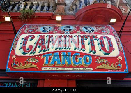 Caminoto Tango Zeichen in La Boca, Buenos Aires, Argentinien - Stockfoto