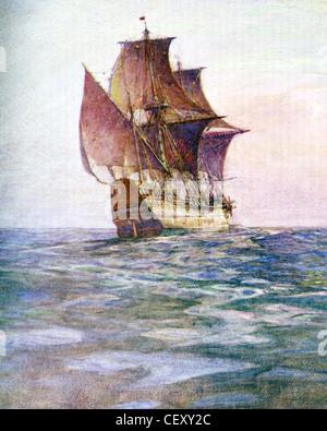 DIE MAYFLOWER durchgeführt die englische Dissidenten (Pilger) nach Massachusetts 1620. Gemalt von Marine-Historiker - Stockfoto