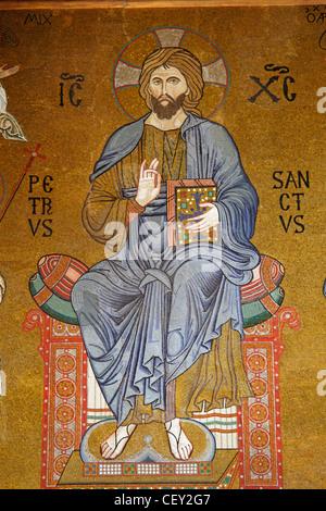 Byzantinischen Mosaiken in der Cappella Palatina im Normannenpalast Könige, Palermo, Sizilien, Italien - Stockfoto