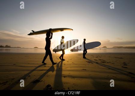 Silhouette der drei Surfer Surfboards tragen; Chesterman Beach Tofino Vancouver Island in British Columbia Kanada - Stockfoto