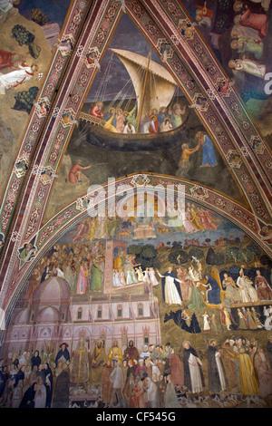 Deckenfresken von Andrea di Bonaiuto, 1365-1367, spanische Kapelle, Basilika von Santa Maria Novella in Florenz - Stockfoto