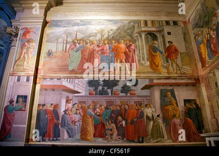 Hommage Geld Anhebung des Kaisers Sohn von Masaccio, Brancacci Kapelle Santa Maria del Carmine Florenz Toskana Italien - Stockfoto