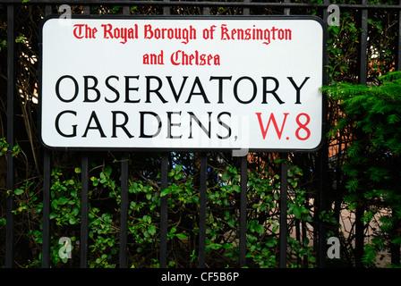Sternwarte Gärten Straße unterzeichnen in der Royal Borough of Kensington und Chelsea. - Stockfoto