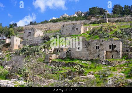 Lifta, ein Jerusalem-Dorf, das von den Palästinensern während des israelischen Unabhängigkeitskrieges aufgegeben - Stockfoto
