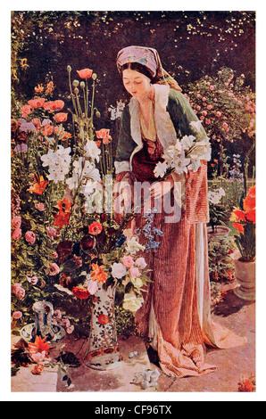 In den Bey Garten von John Frederick Lewis Mediterranean Frau Dame im Garten sammeln Blumen rose Blume Blütenblatt - Stockfoto