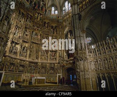Spanien. Altarbild von der Kathedrale von Toledo, die Szenen aus dem Leben Christi (1497-1504). Polychrome Holz. - Stockfoto