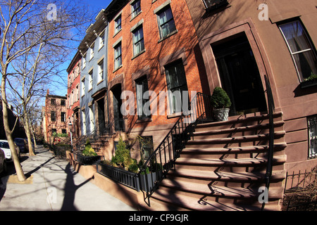 Brownstone Wohnungen auf Willow St. Brooklyn Heights New York City - Stockfoto