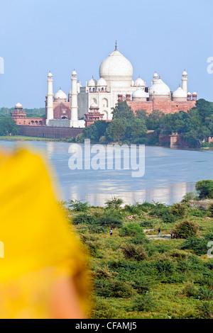 Taj Mahal, UNESCO-Weltkulturerbe in der Jumna (Yamuna) Fluss, Agra, Uttar Pradesh Zustand, Indien, Asien - Stockfoto