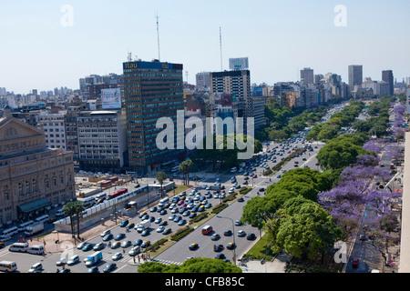Südamerika, Buenos Aires, Straße, Bau, Avenida 9 de Julio Avenue, Verkehr, Gebäude, - Stockfoto