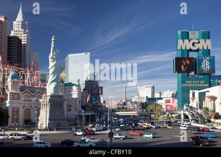USA, USA, Amerika, Nevada, Las Vegas, Stadt, Strip, Avenue, New York City, Hotel, Architektur, beschäftigt, Casino, - Stockfoto