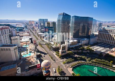 USA, USA, Amerika, Nevada, Las Vegas, Stadt, Strip, Avenue, Casinos, Zentrum, lange, moderne, neu, Straße, Wolkenkratzer, - Stockfoto