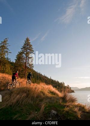 paar Mountainbiker fahren einheimische Gräser in der Nähe - Stockfoto