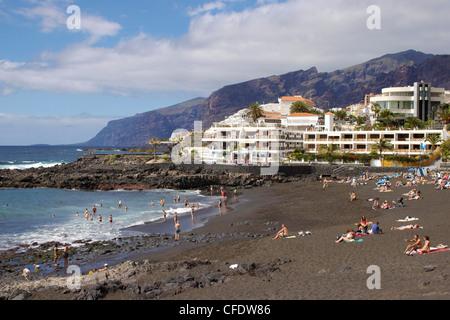 Playa De La Arena, Puerto de Santiago, Teneriffa, Kanarische Inseln, Spanien, Atlantik, Europa - Stockfoto