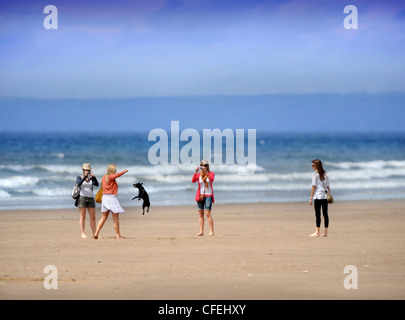Vier Mädchen spielen mit ihrem Hund an einem Frühlingstag im Rhossili Bucht an der Gower, South Wales UK - Stockfoto