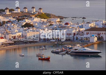 Fünf Mühlen (Kato Mili), alten Hafen, Mykonos Stadt, Chora, Insel Mykonos, Kykladen, griechische Inseln, Griechenland, - Stockfoto