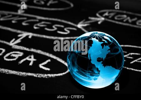 Flussdiagramm auf einer Tafel mit Weltkugel zeigt Amerika - Stockfoto