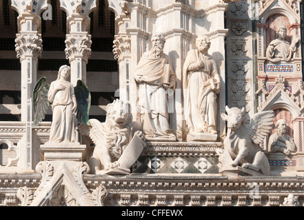 Duomo Santa Maria Assunta, Fassade Detail, Siena, Toskana, Italien, Europa - Stockfoto