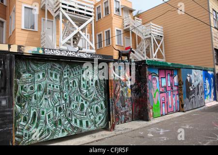 Wandbilder, Clarion Gasse, Mission District, Mission, San Francisco, Kalifornien, Vereinigte Staaten von Amerika, - Stockfoto